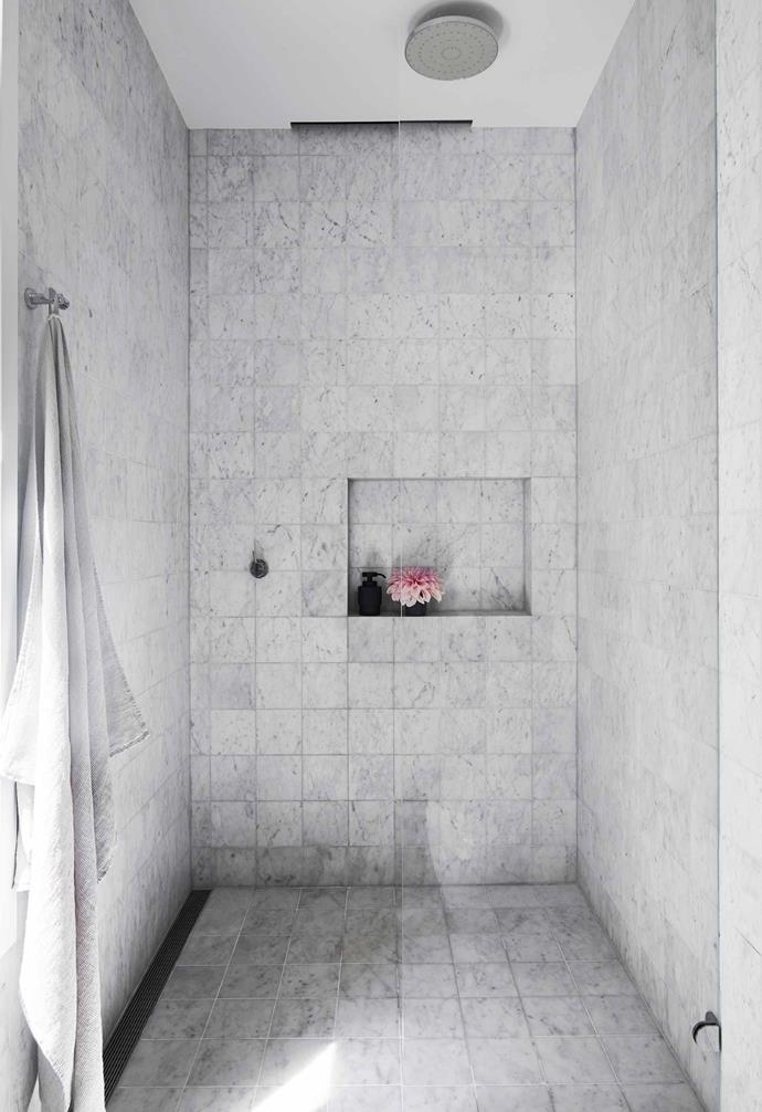"**Ensuite** This roomy shower could fit the whole family. Shades high soap dispenser and toothbrush holder, [Oliver Thom](https://oliverthom.store/|target=""_blank""