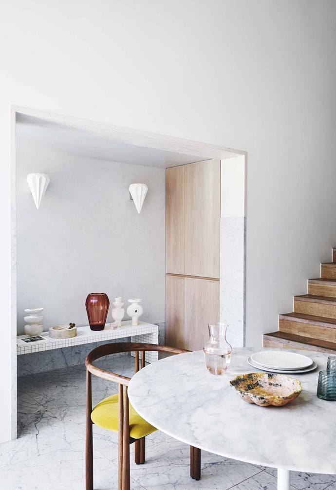 """**Curated collection** This sculptural collection of tabletop ceramic, glass and stone accessories feel nostalgic, earth and futuristic all at once. The ornate wall sconces seem to become part of this artful assemblage. Zanotta bench, [Cult](https://cultdesign.com.au/