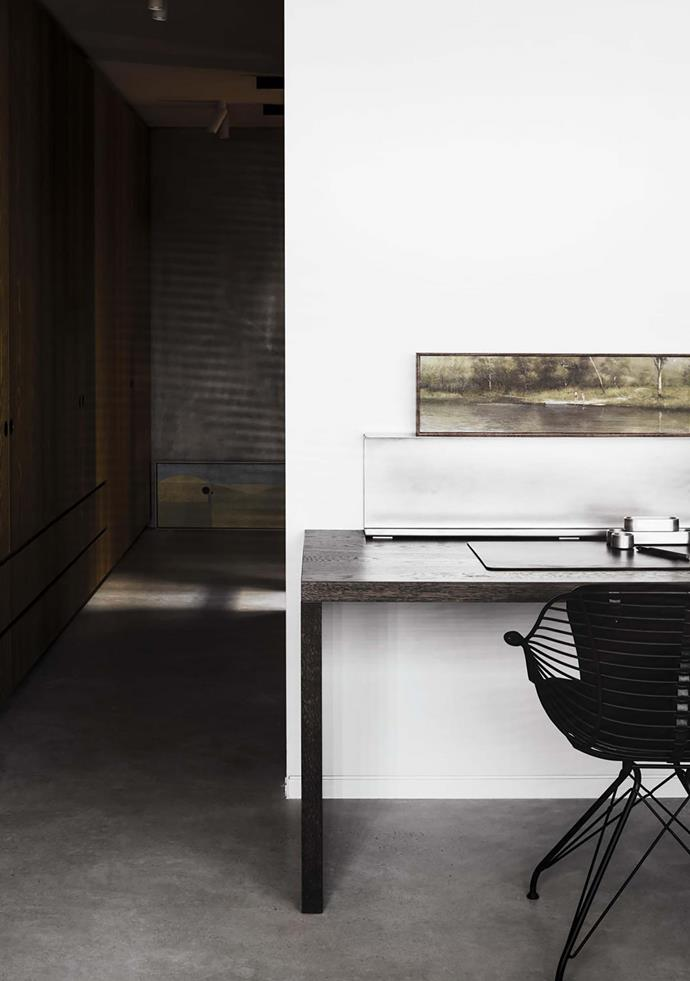 Lowe Furniture desk, Overgaard & Dyrman 'Wire' chair and artwork by William Mathewson, all from Hub. Henry Wilson accessories.