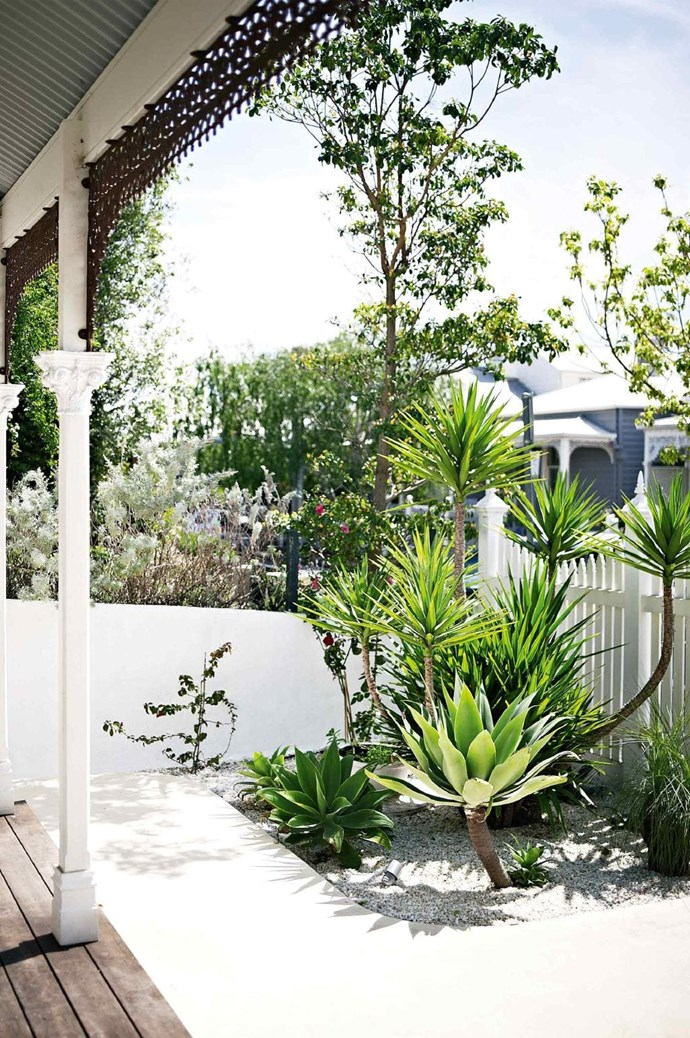 """An inviting and easy to maintain garden is achieved using sculptural plants and white pebbles that also provide texture in this [Moroccan-style home in Melbourne](https://www.homestolove.com.au/tour-this-moroccan-style-home-in-melbourne-18319