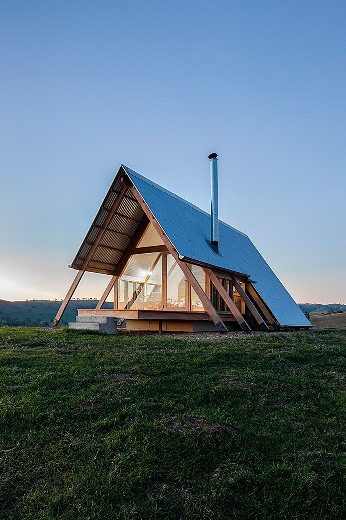 """JR's Hut, which is solar powered and off-the-grid, was designed by designer Anthony Hunt in partnership with Luke Stanley Architects. *Photo: [Kimo Estate](http://www.kimoestate.com/