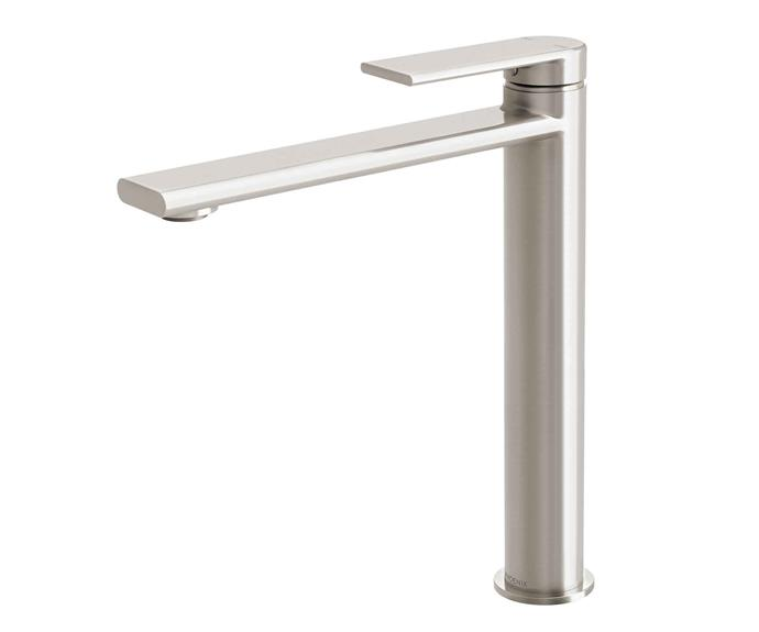 "**Tapware** Teel Vessel brushed-nickel mixer with chrome finish, $528, [Phoenix Tapware](https://www.phoenixtapware.com.au/|target=""_blank"")."