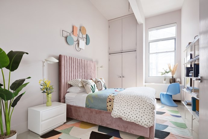 """The guest bedroom boasts the same playful pastel palette as the main living room. *Photo:* [DDreps](http://ddreps.com/ target=""""_blank"""" rel=""""nofollow"""")"""