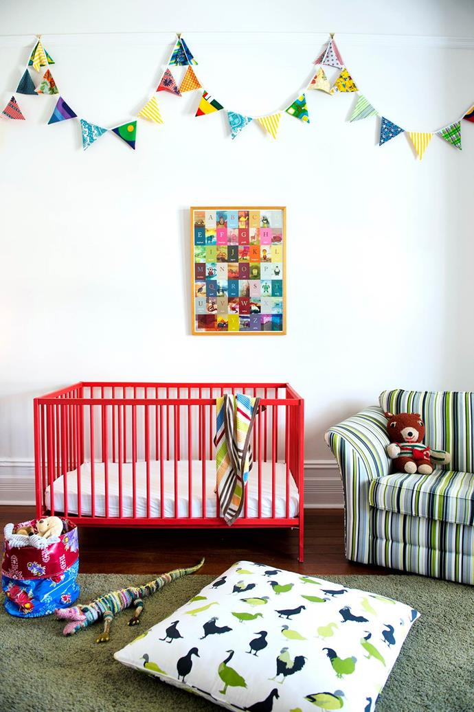 "A neutral base palette allows for easy redecoration as a child gets older. For now, [this room is enlivened](https://www.homestolove.com.au/gallery-imogen-and-grants-light-filled-perth-cottage-1443|target=""_blank"") with toddler-friendly handmade bunting, toys and an alphabet artwork by Caitlin Ziegler. An old sofa was refreshed with new upholstery in Charles Parsons Right Stripe. Floor cushion in Charles Parsons Free Range. Cot (painted by Imogen's father) and rug, both from Ikea. *Photograph*: Jody D'Arcy 