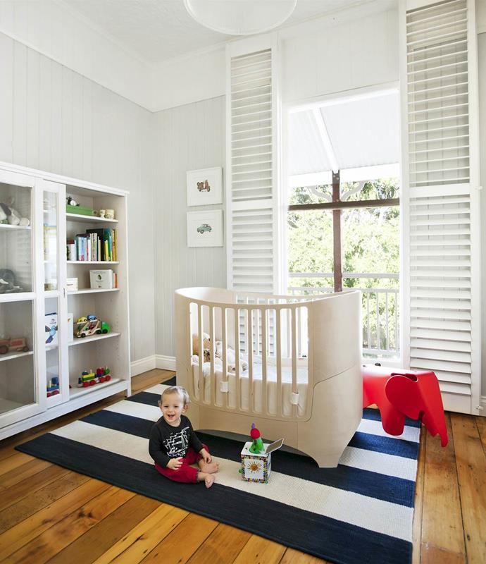 "[William's bedroom](https://www.homestolove.com.au/gallery-fiona-and-davids-queenslander-renovation-1469|target=""_blank"") is designed to grow with the two-year-old. The Leander cot/bed is from Bubs Baby Shops. *Photograph*: Maree Homer 