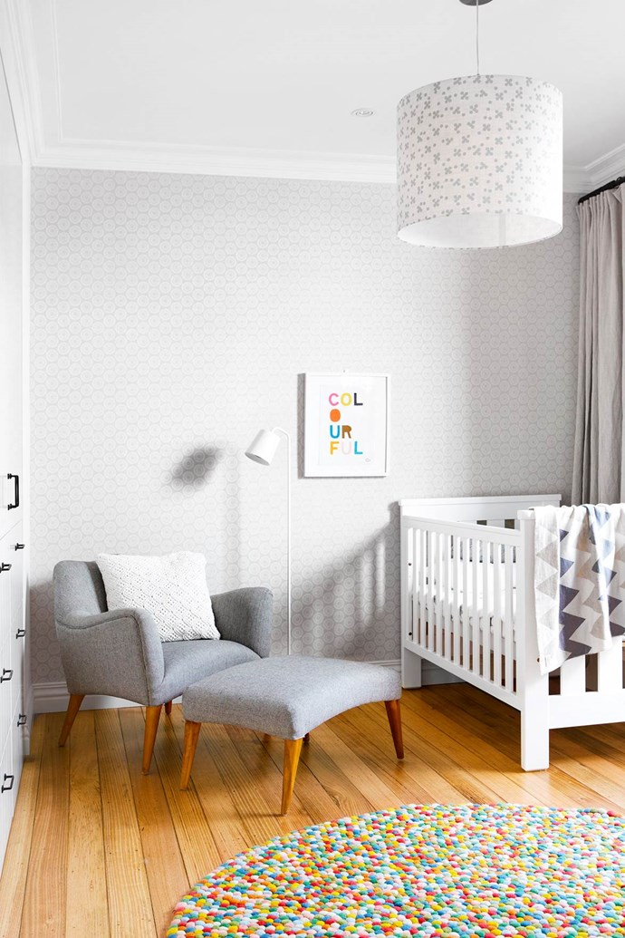 """A chocolate freckle-like rug from The Rug Establishment is a fun textural element in [Roko's room](https://www.homestolove.com.au/interior-designer-terri-shannon-lights-up-melbourne-home-2854