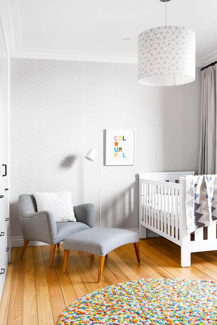"A chocolate freckle-like rug from The Rug Establishment is a fun textural element in [Roko's room](https://www.homestolove.com.au/interior-designer-terri-shannon-lights-up-melbourne-home-2854|target=""_blank""). Cot, Baby Bunting. Charlecote wallpaper, Elliott Clarke. Custom-made pendant light, Bloomingdales Lighting. Print, Castle and Things. Floor lamp, Cult. *Photograph*: Armelle Habib 