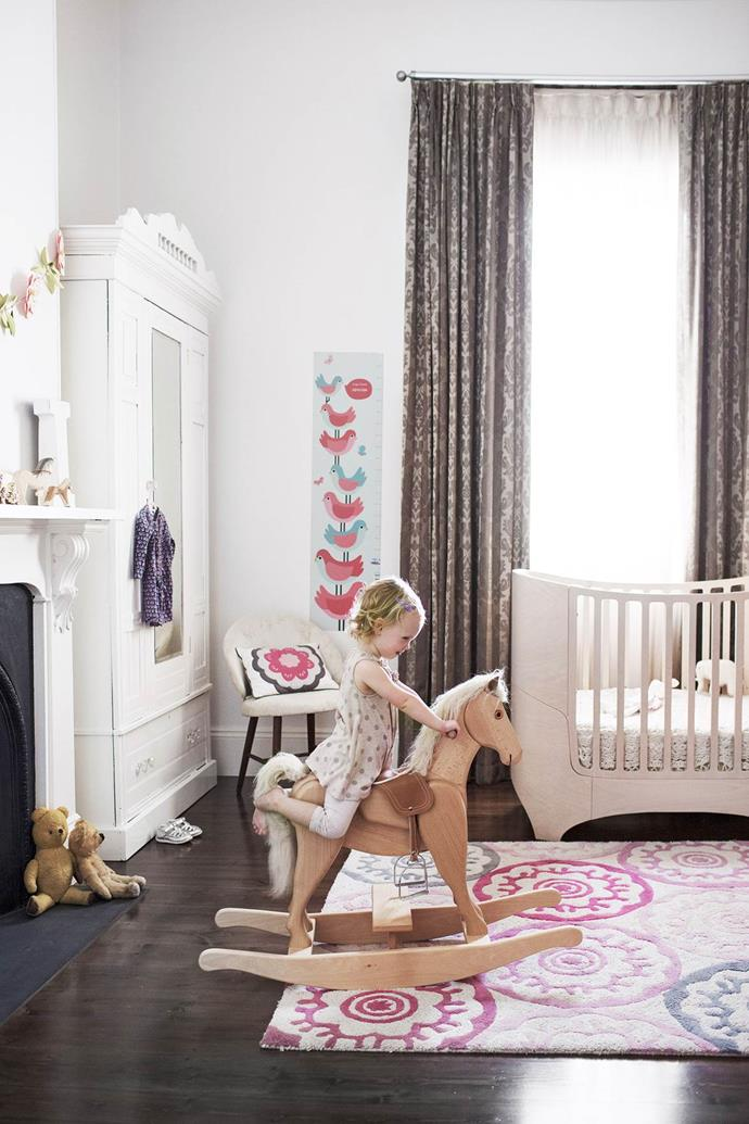 "With a mixture of new and restored finds, this [elegant toddler's room](https://www.homestolove.com.au/young-adelaide-family-finds-victorian-villas-soft-spot-3728|target=""_blank"") is fit for a princess. *Photograph*: James Knowler *Styling*: Deni Jones"