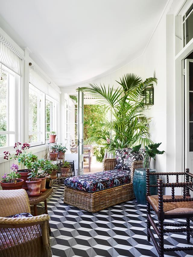 Terragong is a refurbished 1858 farmhouse run as a B&B by interior designer Darryl Gordon and his partner in a lush valley near Jamberoo, NSW. The garden room features encaustic tiles in 'Tumbling Blocks' pattern.