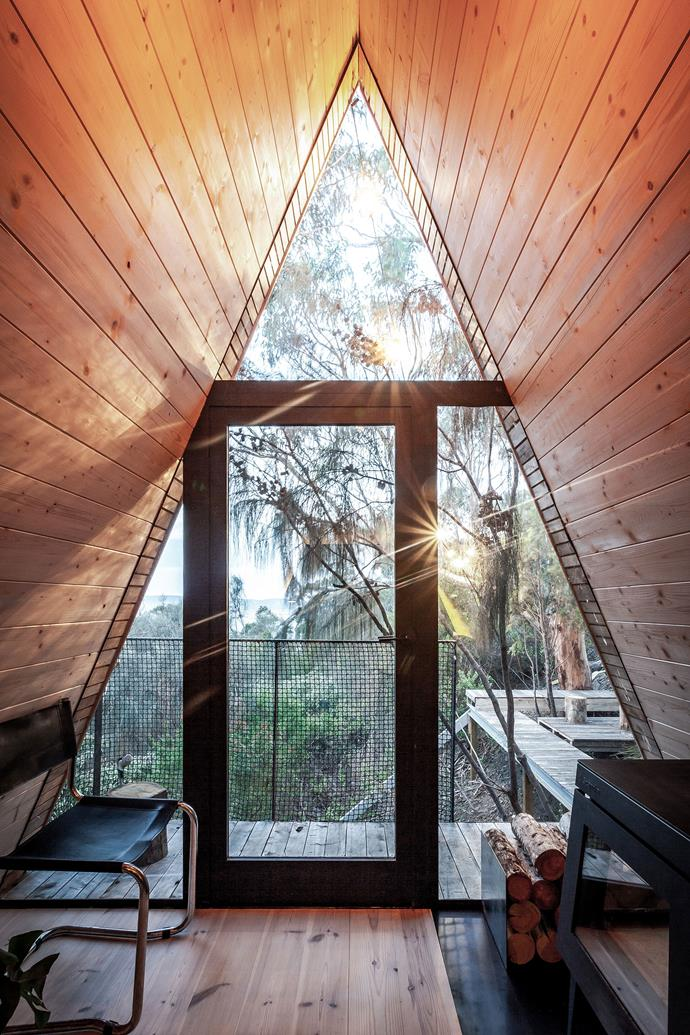 "The A-frame structure is reminiscent of a [glamping tent](https://www.homestolove.com.au/glamping-ideas-13430|target=""_blank"")."