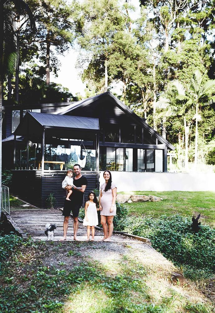 "**Exterior** Adam and Fallon with daughters Kaya and Kalea, and MJ the dog. They added the entertaining area, which hides a rainwater tank, but retained the home's corrugated tin roof. The exterior is painted with [Dulux](https://www.dulux.com.au/|target=""_blank""