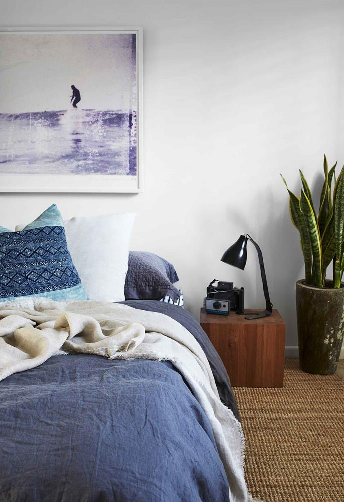 "**Master bedroom** ""When I lived in New York, I picked up a passion for vintage Polaroid land cameras,"" says Adam of the piece on the [Mark Tuckey](https://www.marktuckey.com.au/