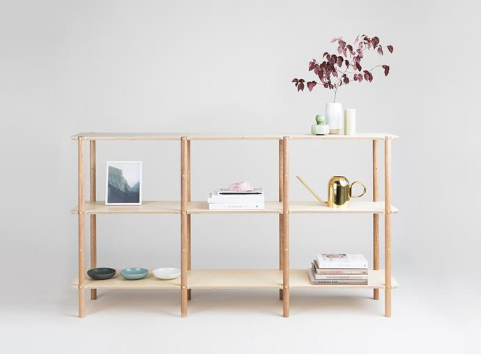 "Hibui Mid sustainable-timber shelving system, $2495, [Plyroom](https://www.plyroom.com.au/products/shibui-sideboard|target=""_blank""