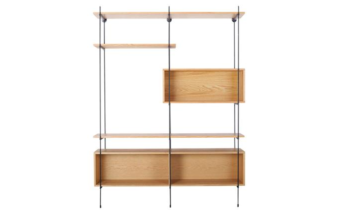 "Flex engineered-timber, veneer and powdercoated-steel wall-mounted modular shelves, $1199, [Freedom](https://www.freedom.com.au/furniture/living-storage/all-living-storage/23950726/flex-wall-mounted-modular-shelving-system-shelving-combination-2-oak-and-matte-black|target=""_blank""