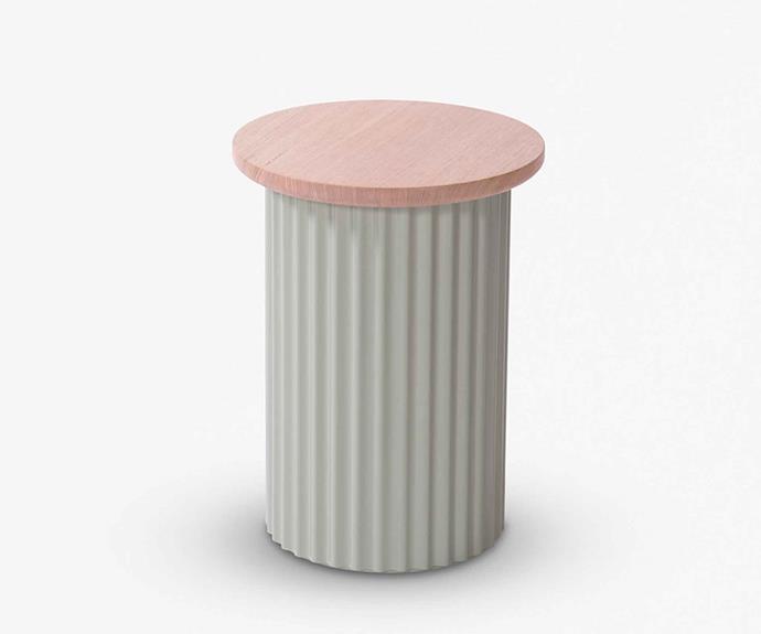 "Ridge stool in Pale Eucalypt, $390, [Beeline Design](https://www.beelinefurnituredesign.com.au/|target=""_blank""|rel=""nofollow"")."