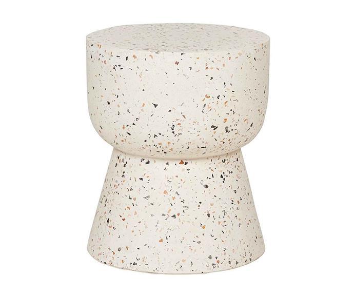 "Hourglass terrazzo stump in Natural, $450, [Fenton & Fenton](https://www.fentonandfenton.com.au/|target=""_blank""|rel=""nofollow"")."
