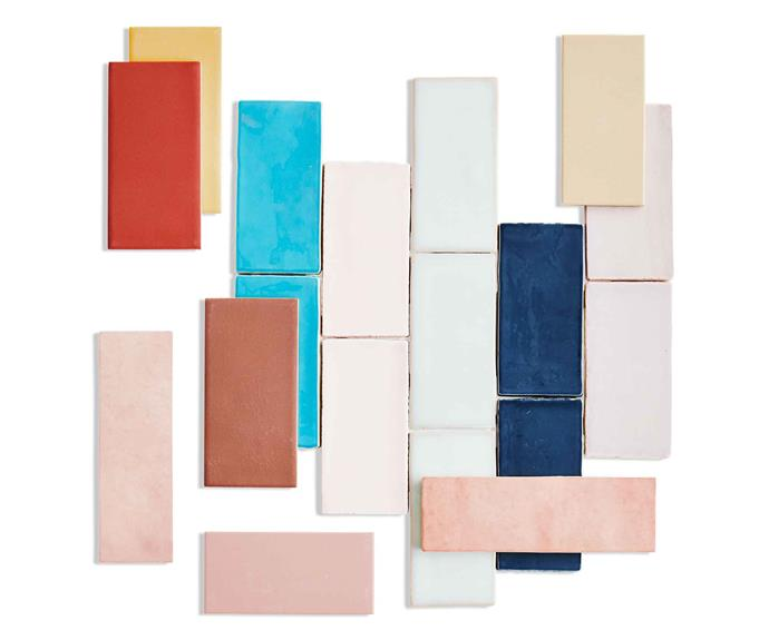 "**Top picks** *(clockwise from left)* Mutina 'Lane' glazed porcelain tiles in assorted colours, $240 per sq m, [Di Lorenzo](https://www.dilorenzo.com.au/|target=""_blank""