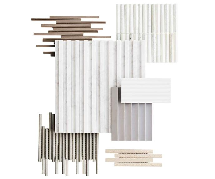 "**Top picks** *(clockwise from left)* Mutina 'Phenomenon Rain C Fango' matt porcelain mosaic tiles, $56 per sheet, [Di Lorenzo](https://www.dilorenzo.com.au/|target=""_blank""