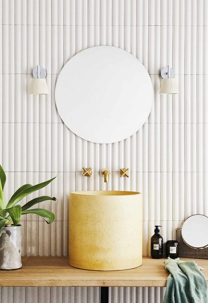 "**Get the look** Wall in Stripes porcelain tile in White, [National Tiles](https://www.nationaltiles.com.au/|target=""_blank""