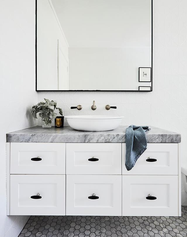 A wall hung vanity will free up floorspace and make your bathroom feel much bigger than it is.