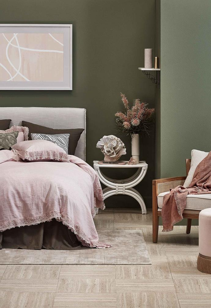 Sage green has been trending in a big way this year, and for a cosy look, pair it with soft blushes for a lush aesthetic.