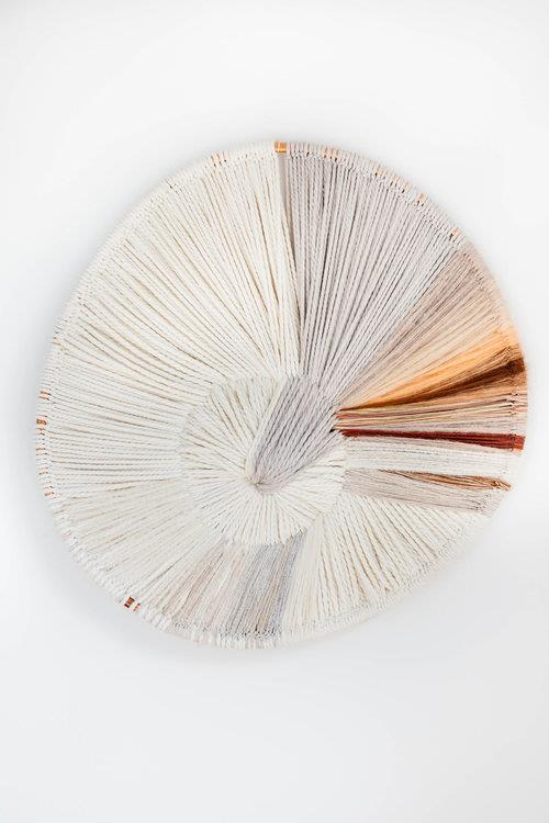 """'Sunrays' 2017 textile art composed of wool, linen, silk, mohair and fibres, POA, by [Tammy Kanat](https://www.tammykanat.com/works