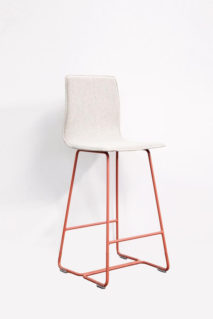 "Sled base **bar stool** in terracotta upholstered with fabric made from 82% Australian and New Zealand wool, $750, from [Koskela](https://store.koskela.com.au/products/sled-base-stool-low-terracotta|target=""_blank""
