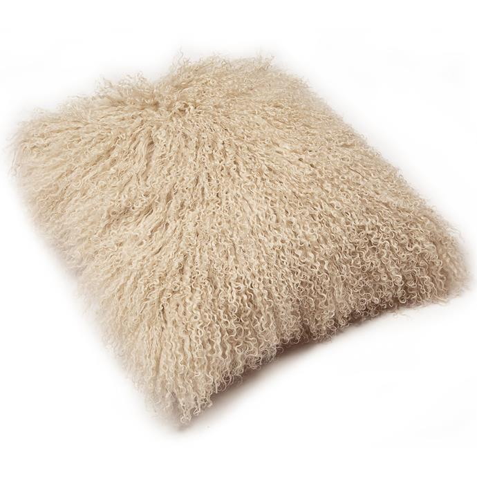 "Oatmeal Mongolian sheepskin **cushion**, $114, from [Temple & Webster](https://www.templeandwebster.com.au/Oatmeal-Mongolian-Sheepskin-Cushion-BAROSSA-C7-ECCL1107.html|target=""_blank""