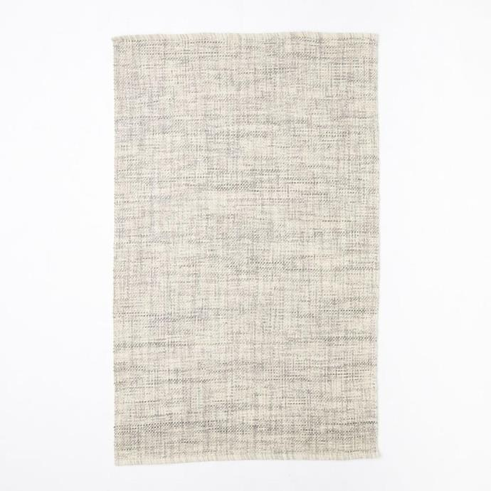 "Mid-century heathered basketweave wool **rug** in steel, from $449, from [West Elm](http://www.westelm.com.au/mid-century-heathered-basketweave-wool-rug-steel-t1811|target=""_blank""