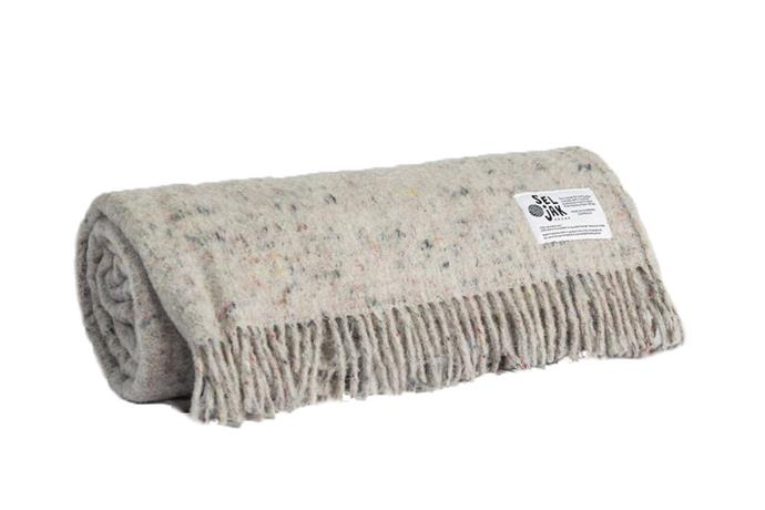 "'Original' **blanket** made from recycled merino wool in Tasmania, $299, from [Seljak Brand](https://www.seljakbrand.com.au/collections/all/products/seljak-original-fringe|target=""_blank""