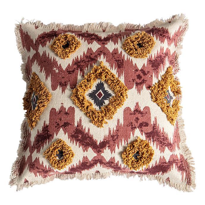 "Castle Road Interiors ""Callia"" cushion, $61.95, [Zanui](https://www.zanui.com.au/Callia-Cushion-157981.html|target=""_blank""|rel=""nofollow"")."