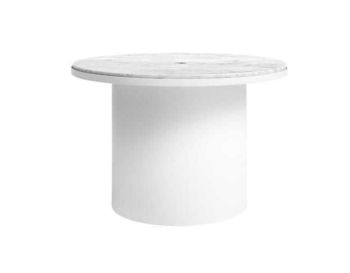 "Plateau Medium table in White, $999, [Blu Dot](https://www.bludot.com.au/|target=""_blank""|rel=""nofollow"")."