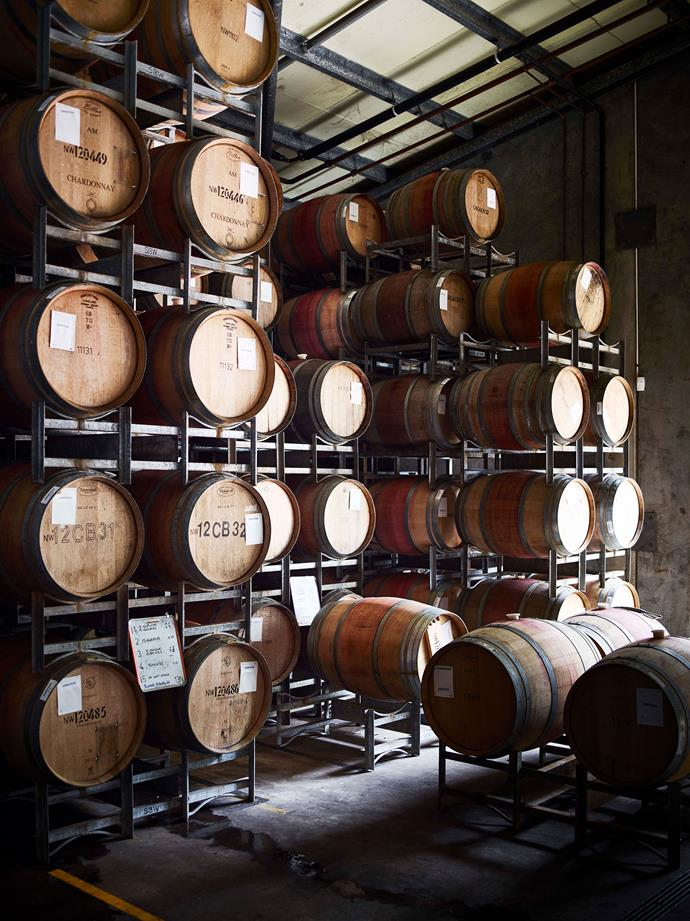 The climate-controlled barrel hall where Stella Bella premium wine is matured in oak.