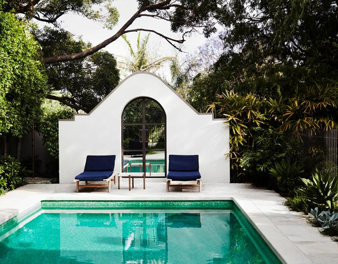 The pool is a new addition to the property. Paola Lenti outdoor furniture from De De Ce.