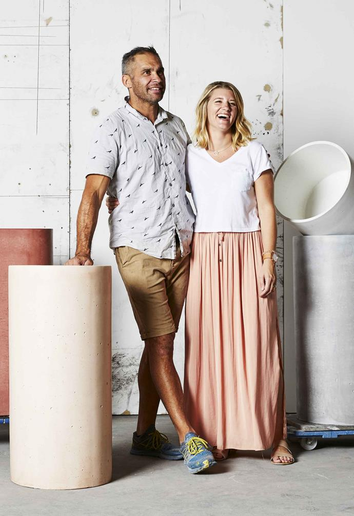 **Concrete Nation** Founders Jason and Kate Lett with the brand's freestanding Como, Tropez and Amalfi basins.