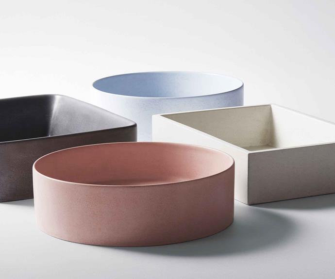 **Studio Bagno** A selection of Silo (round), Tundra (soft square) and Quarry (square) concrete basins.