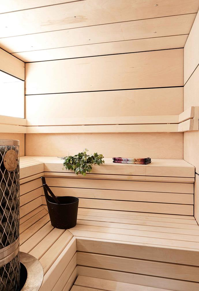 **Sauna** The bench-lined sauna – a must in any Finnish home – was built from birch plywood.