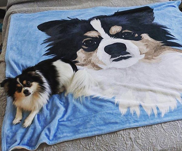 Print your pet's face on a custom-made blanket for winter