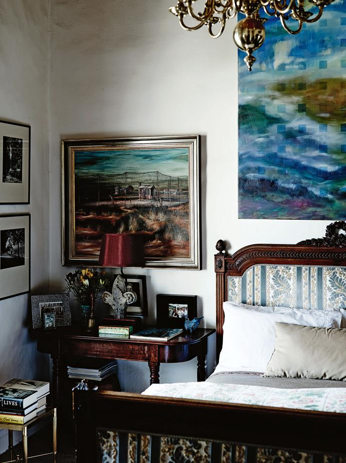 The painting above the Regency bedside table is by Bill Bevan, a protégé of Pro Hart. Goodman House remained mostly a weekender while Jeff continued working, more recently as a chaplain at Geelong Grammar School and then as general manager and a member of the executive team at the Brotherhood of St Laurence. His book *Brotherhood: Stories of Courage and Resilience* was published by Penguin in 2009.