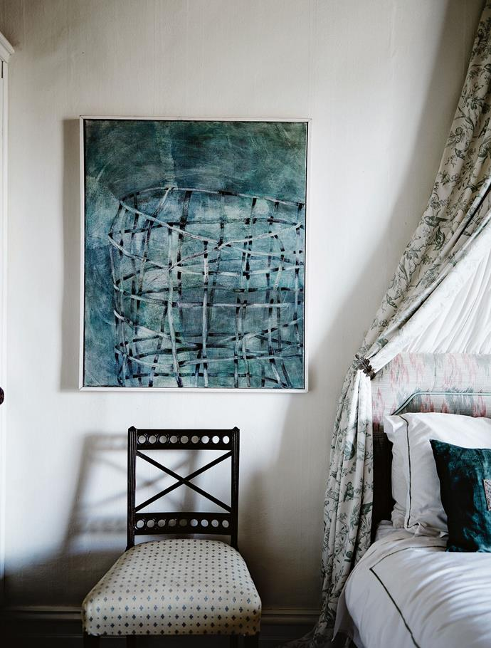 An unsigned painting bought at a local exhibition hangs above an 18th-century Sheridan chair. It's taken more than a decade to restore Goodman House and make it a beautifully decorated and comfortable home, one that resonates with the diverse interests and personality of its owner.