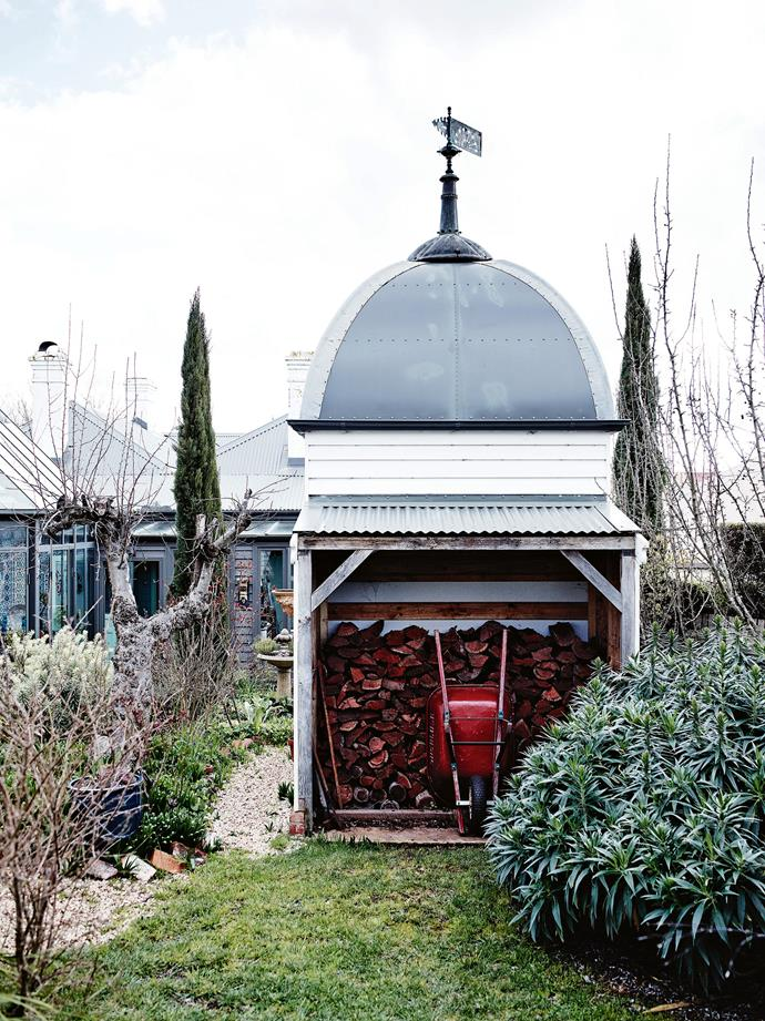 Jeff built the garden shed — actually more of a romantic folly — whose domed metal roof was inspired by the French copper weathervane that he found in a nearby antiques store.