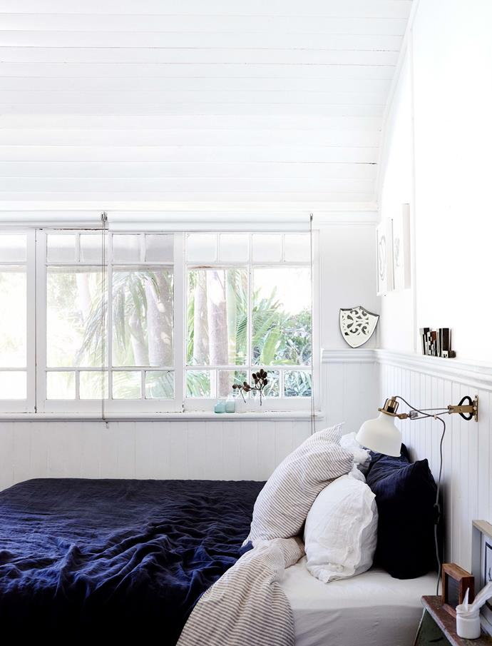 "[I Love Linen](https://www.ilovelinen.com.au/|target=""_blank""|rel=""nofollow"") bed linen and a Sibella Court mirror in Sam's bedroom."