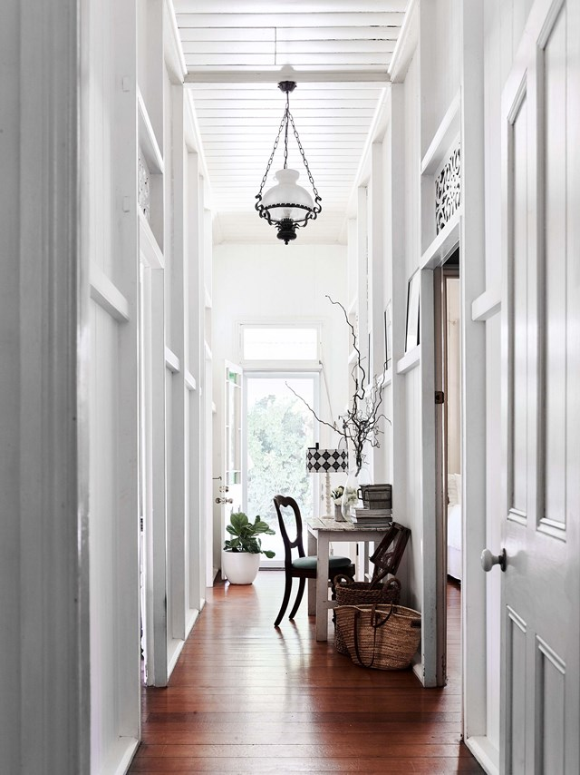 "A small study nook has been incorporated into the tall and narrow entrance hall in this [renovated river cottage in Bilambil, NSW](https://www.homestolove.com.au/river-cottage-australia-20311|target=""_blank"")."