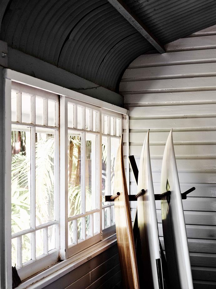 Surfboards belonging to Sam who is a keen surfer and heads to local surf beaches Rainbow Bay and Duranbah Beach almost every day.