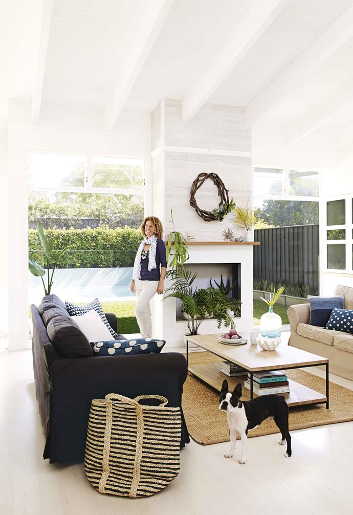 "This sign isn't the only thing Danielle has brought with her to this property. With it came a love of all things nautical that inspired the redesign of her [weatherboard family home](https://www.homestolove.com.au/weatherboard-houses-5478|target=""_blank""). Originally a 1960s flat-roofed house, it has been reimagined by Danielle and her husband Stephen Ravich – the pair all but gutted it – with a mix of coastal, Art Deco and mid-century touches."