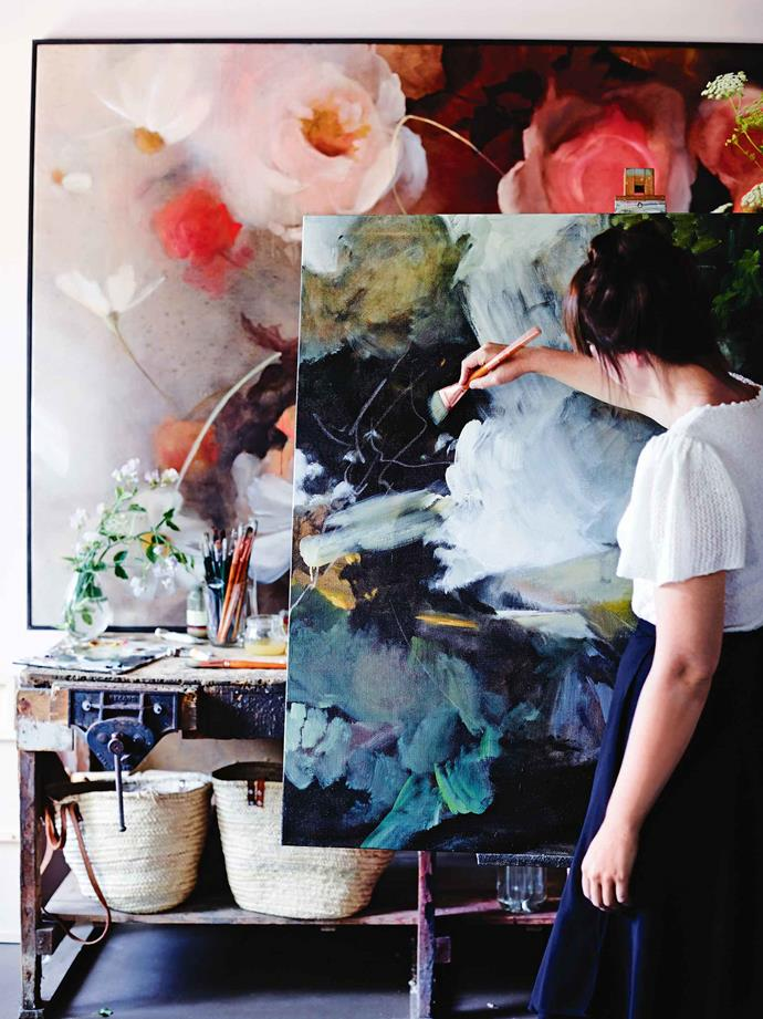 "This love of flowers, gardens and nature is interwoven in Morgan's art, her floral business and her life with Justin, a [furniture maker](https://www.homestolove.com.au/custom-furniture-australia-19598|target=""_blank""). Between them they have two dogs — cairn terriers Little and Boots — Chippy the orphan lamb, a few chickens and Pickle the ginger cat, on their three-hectare farm. ""I'm a painter first,"" she says. ""My work with flowers is a lovely addition to that."""