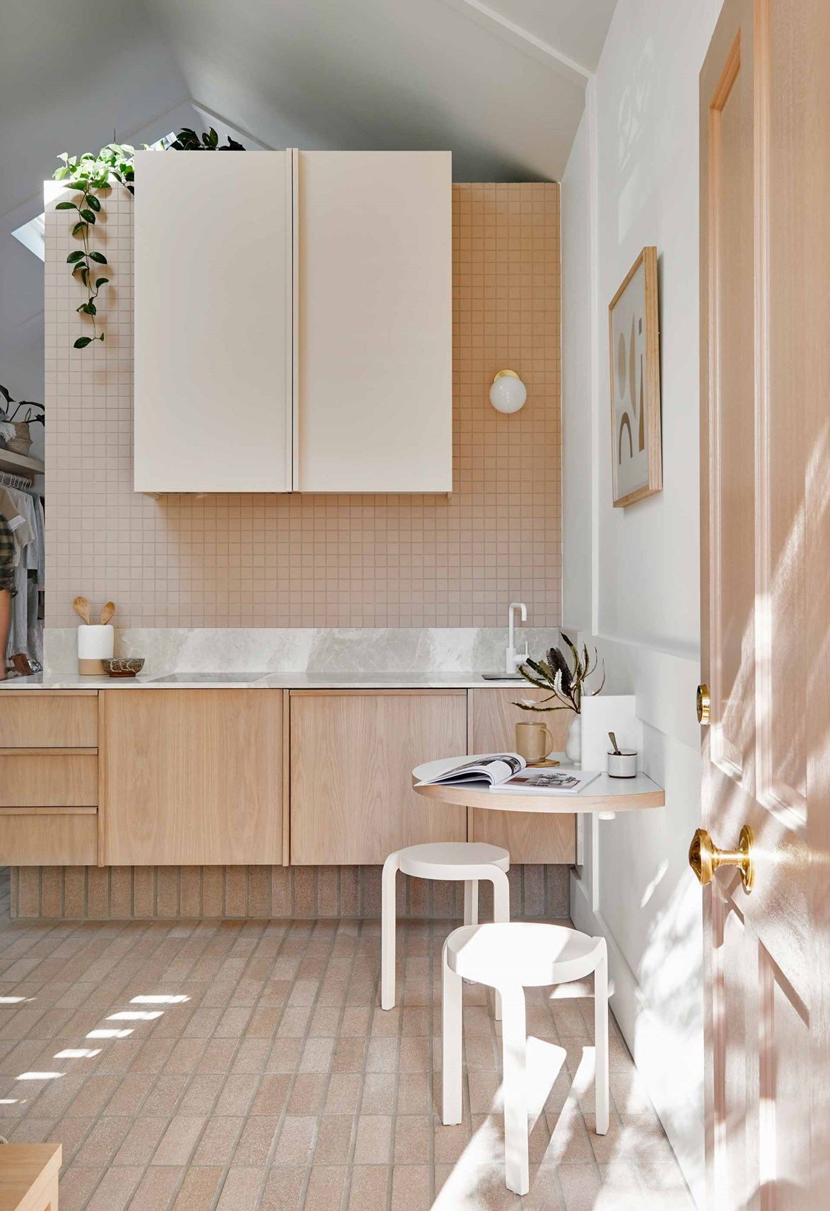 "In [Josh and Jenna's revamped cottage](https://www.homestolove.com.au/josh-and-jenna-denstens-cottage-renovation-5974|target=""_blank"") a nude blush colour complements the blonde timber and pale bricks throughout the home."