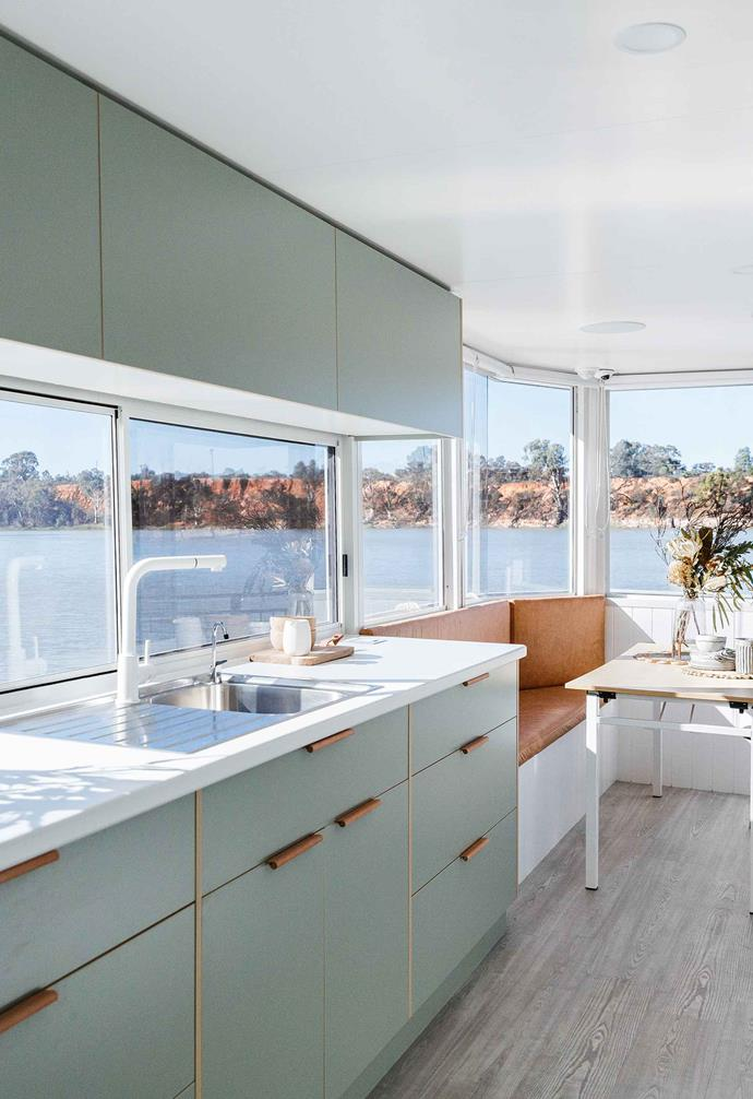 "In the renovation of a [Murray River houseboat](https://www.homestolove.com.au/houseboat-renovation-murray-river-19358|target=""_blank""), the galley kitchen features Laminex Bayleaf laminate paired with tan leather pull handles, creating a luxurious coastal aesthetic."