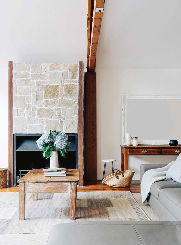 Michael built the fireplace and finished it with a natural stone veneer. When Belynda and Michael were expecting their first child Chloe, the most immediate need after purchasing the Dooralong property, was to build shelter. Michael chose the most level piece of ground and quickly erected a simple loft studio with exposed hardwood beams.