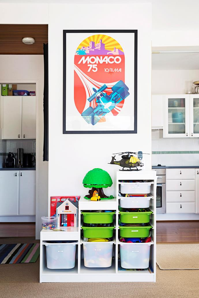 Create a designated area with a couple of toy bins and organisers to keep 'toy chaos' contained.
